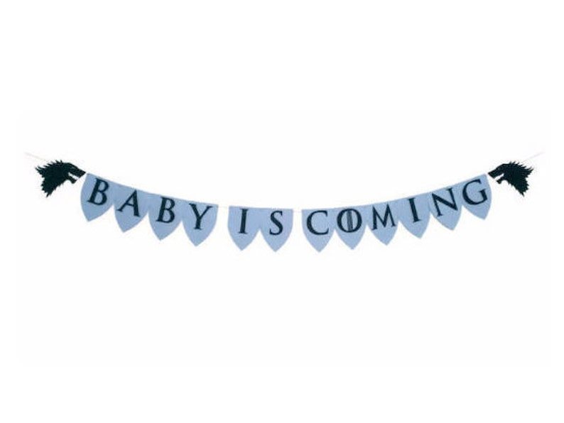Baby Shower Decor Welcome Baby Baby is Coming We/'re Pregnant Banner Medieval Baby Shower Garland