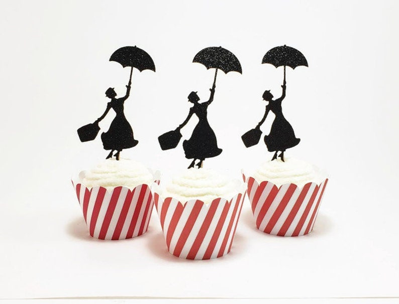 Mary Poppins Cupcake Toppers Mary Poppins Birthday Party Etsy