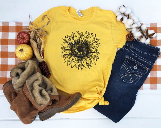 Featured listing image: Sunflower Shirt, Sunflower T-Shirt, Spring Shirt, Summer Shirt, Teen Shirt, Women's Shirt, Boho Shirt