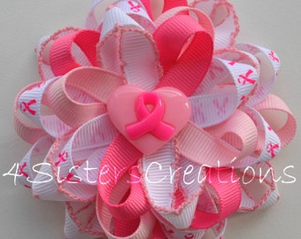 THINK PINK Custom Print Breast Cancer Awareness Flower Loop Bow and Custom Resin with Moonstitch