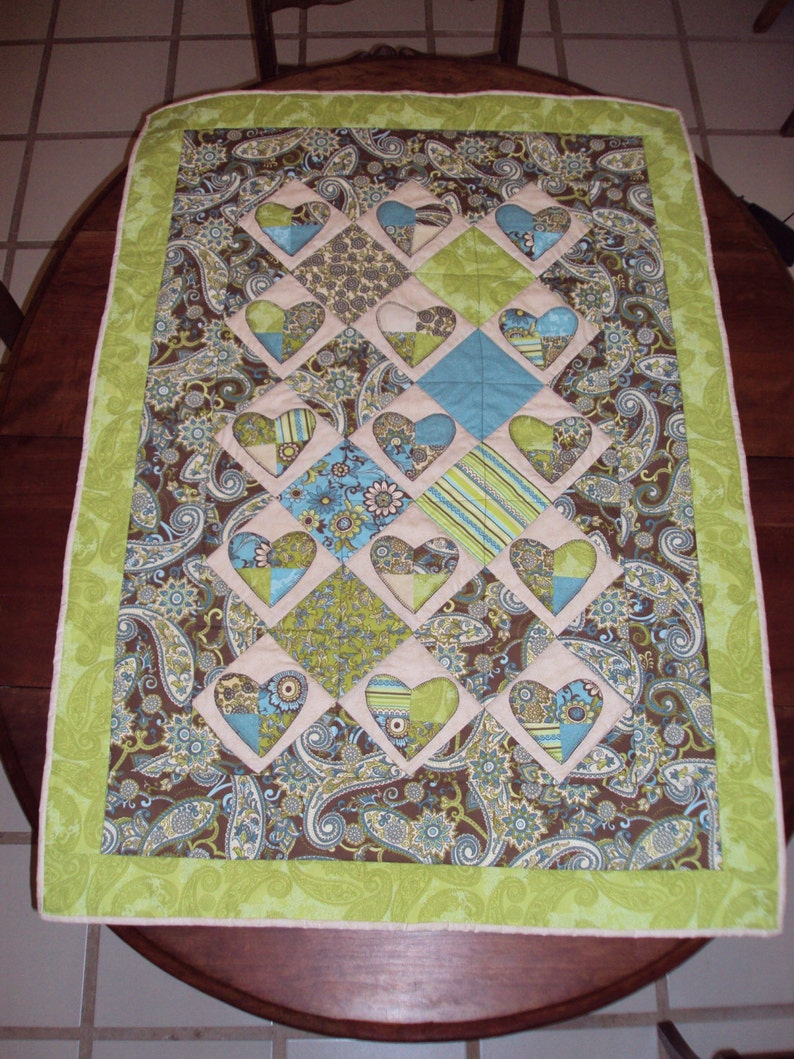 Paisley Patchwork Hearts Baby Quilt
