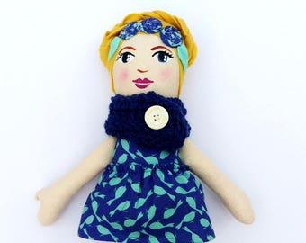 "SALE Blond Cloth Heirloom Doll, 18"" Rag Doll with blue cowl, blonde doll, cloth doll, Easter doll, soft doll, fabric doll"