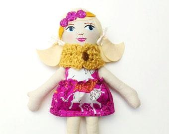 "SALE Blonde Cloth Heirloom Doll, 18""  Blond Ponytails, Rag doll, fabric doll, soft doll, christmas doll, gifts under 75,"
