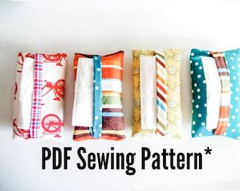 "Tissue Pouch, ""Magic Binding"" PDF Sewing Pattern kleenex pocket pattern, diy pouch tutorial, hankie holders"
