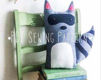 Raccoon Stuffed Animal PDF Sewing Pattern, woodland decor, diy boys room decor, unique kids gift diy, raccoon pillow