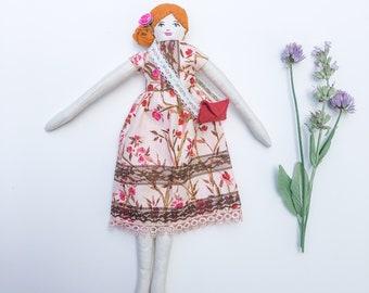 Cloth Art Doll, 12 inch floral dress dolls, heirloom doll, textile doll