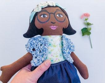 """Black Cloth Heirloom Doll, 18"""" Rag Doll, soft doll, fabric doll African American Doll,"""