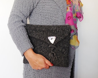 Knitted and Felted Clutch...Hand made Purse...Grey Knitted Clutch