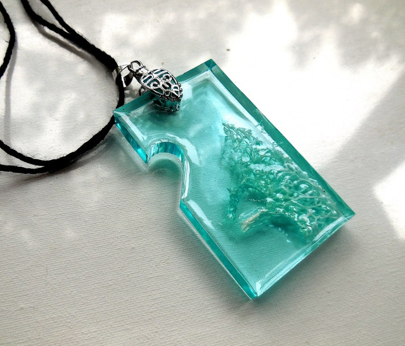 Original Resin Art Perfect Gift For her Resin Art Pendant Sea Color Resin Pendant Epoxy Resin Jewelry Unique Jewelry Art Unique Gift