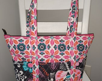 15bc31d0a079 12 Pocket Quilted Purse- Dark Gray with Pink Blue and White Floral- Similar  to Vera Bradley brand