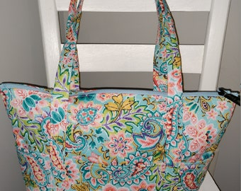 58abde811140 12 Pocket Quilted Purse- Blue and Pink Floral- Similar to Vera Bradley brand