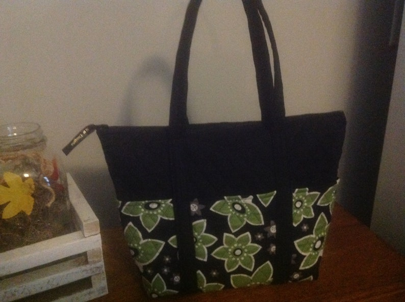 d7f187efc6 12 Pocket Quilted Purse Black and Green Floral Similar to