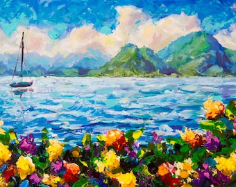 Original palette knife painting Warm summer seascape by Valery Rybakow