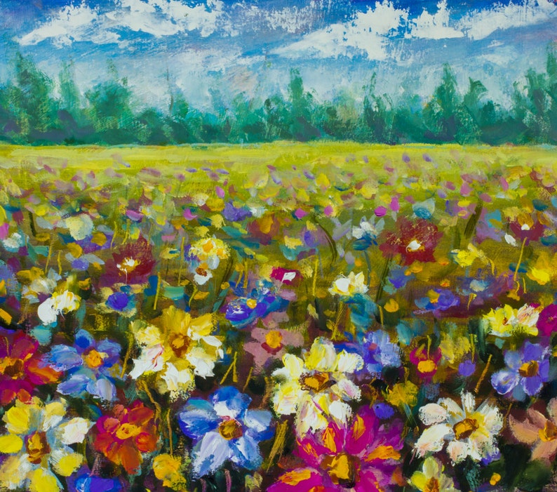 Flowers oil painting Flowers field. ORIGINAL Palette knife painting.  Modern Contemporary painting flowers. Texture Landscape Art on canvas!