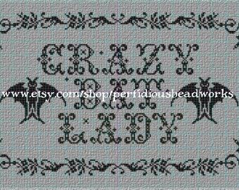 PATTERN: Crazy Bat Lady Cross Stitch Chart