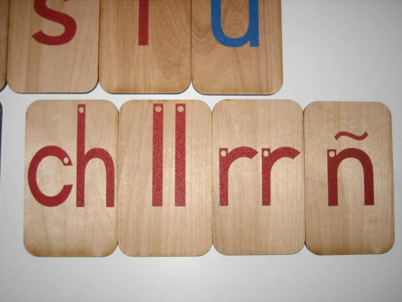 Lowercase Sandpaper Letters Spanish on 3x5 inch Birch wood image 0