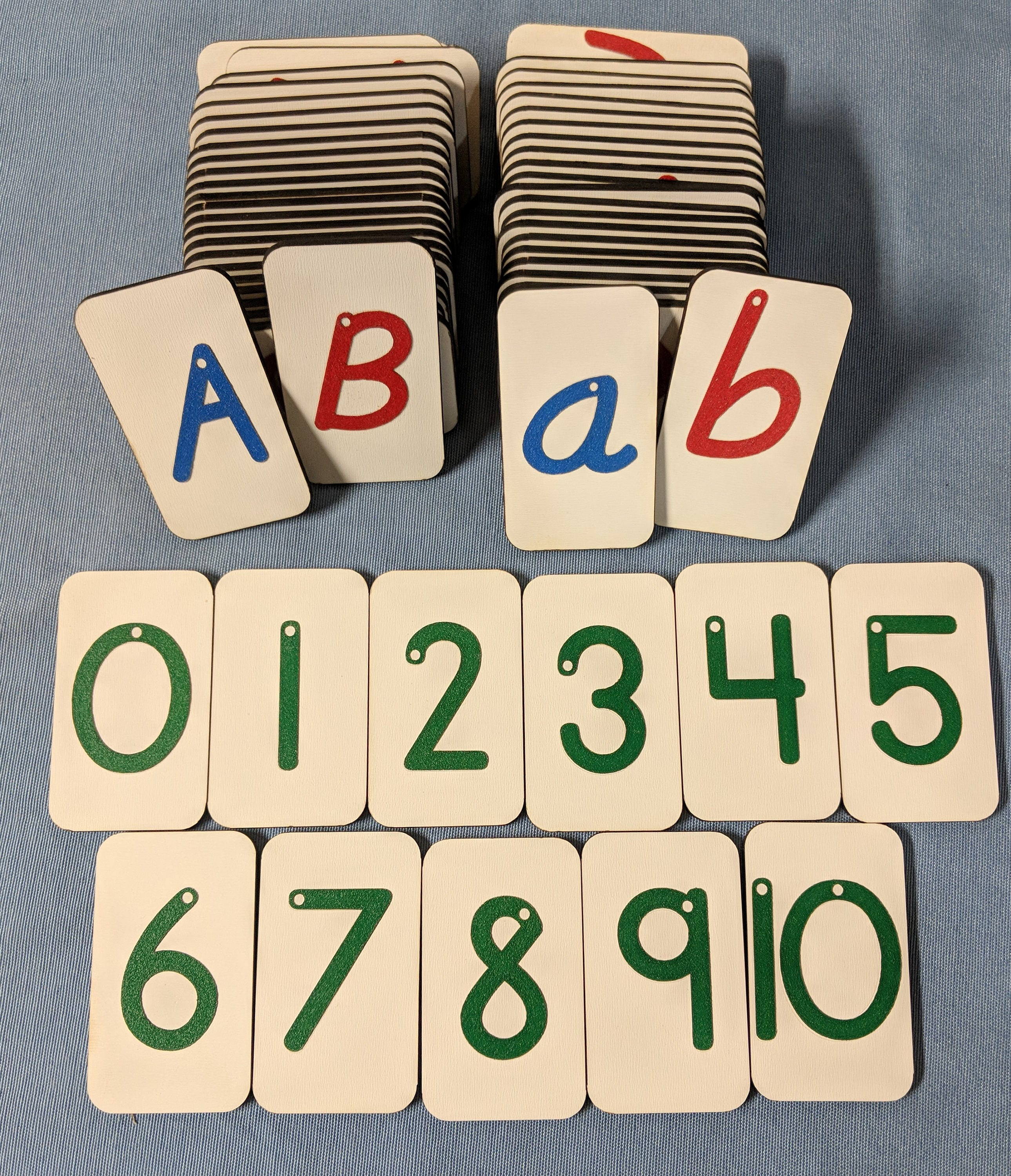 Italic (style 6) Sandpaper letters Uppercase, Lowercase and Numbers 0-10 on  MINI Fiberboard wood boards
