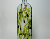 Olive oil dispenser bottle recycled glass with muted olives hand painted