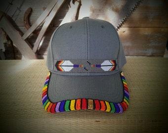 b87d828425e Native Beaded Baseball Cap. Beaded hat. Two Spirit. Gay. Rainbow. Pride.  LGBTQ.