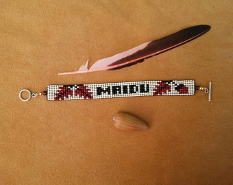 Crow Nation Balance Design Loom Beaded Bracelet Etsy