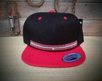 c44154ad64d Native Beaded Baseball Cap. Hat Flat bill.Sturgeon.shell accent. basket  weave design.Yurok. Karuk.Hupa.one size fits all. Snap backl