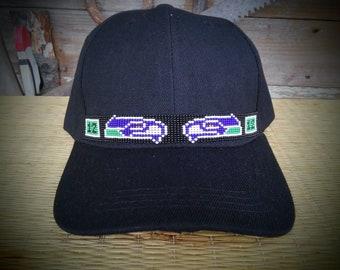 a11ab89d0f6 Native Beaded Baseball Cap. Beaded hat. Spirit Wolf design.
