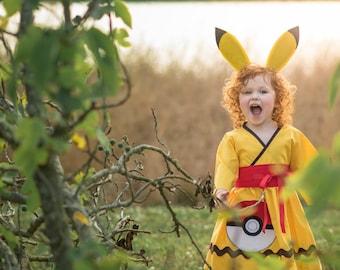 Pikachu Costume - Pokemon Go Costume - Kimono Dress - Toddler Girl Costume - Pokemon Trainer Costume - Teenage Girls Costume - 2t to 14 yrs  sc 1 st  Etsy & Pokemon go costume   Etsy