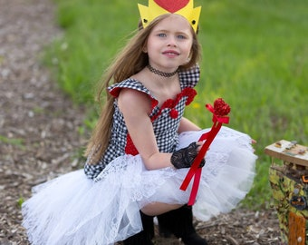 toddler halloween costume alice in wonderland queen of hearts tutu lace skirt gingham red and black cosplay 2t to 10 years