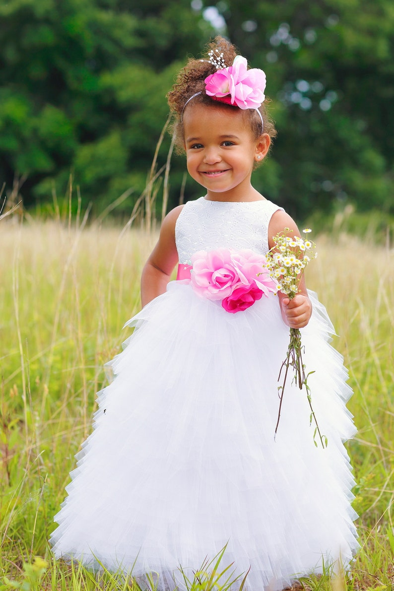 7960d12ae3 Fancy Flower Girl Dress in White Custom Colors Available for