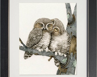 Owl Smooches - archival watercolor print by Tracy Lizotte
