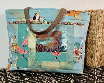 963c6092e459 Shoulder Bag Japanese Asian Patchwork Oridoko Dancers Print - Large  Shoulder Bag - Purse -Tote (1456)