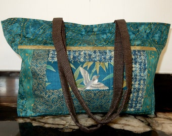 aadb939fe3b2 Shoulder Bag - Patchwork Asian Aquamarine with Gilded Birds - Large  Shoulder Bag - Purse -Tote (1438)