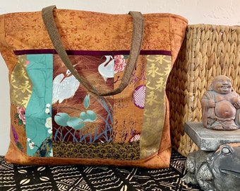 f50f05d6e706 Shoulder Bag Japanese Asian Patchwork Copper and Crane Print - Large  Shoulder Bag - Purse -Tote (1456)