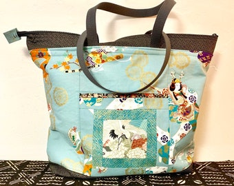 5eb44cb18ba9 Large Shoulder Bag with Zipper-Odoriko Dancers- Contemporary Asian Japanese  Crane Patchwork Geometric Print - Large Shoulder Bag - Purse