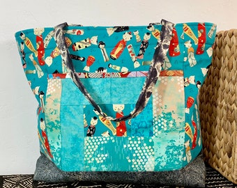 924fc0973707 Shoulder Bag Japanese Asian Patchwork Pocket Blue- Kokeshi Doll Print - Large  Shoulder Bag - Purse -Tote (1456)