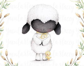 """art print - lamb - duckling - friends - floral wreath -  """"Cherished Blessings"""""""