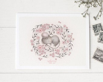 """Mouse Greeting Card • Mouse Baby Card• Welcome Little One Card  • Thank you card •  """"Tiny Slumber""""-C1916"""