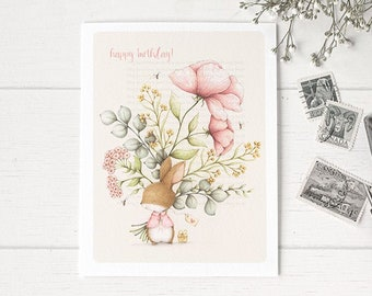 """Bunny Greeting Card • Bunny Birthday Card • Welcome Little One Card • Friendship Card • Thank you card •  """"Bunny Bouquet""""-C1911"""