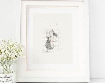 Animal Nursery Art Print, Animal Kids Room Art, Hedge Hog Nursery Art,Hedgehog Kids Room Art- AP1919