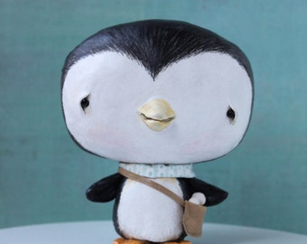 One of a kind, Paper Clay, penguin, snow, snowballs, sculpture, FINN