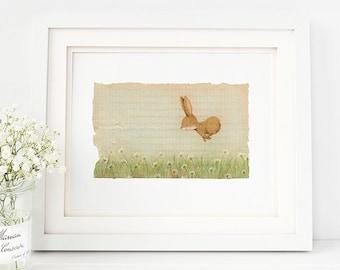 Animal Nursery Art Print, Animal Kids Room Art, Bunny Nursery Art, Bunny Kids Room Art- AP1926