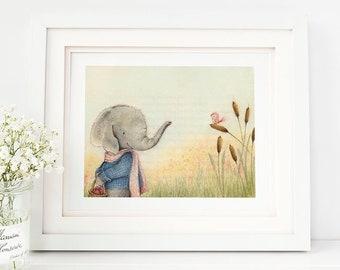 Animal Nursery Art Print, Animal Kids Room Art, Elephant Nursery Art, Elephant Kids Room Art- AP1924