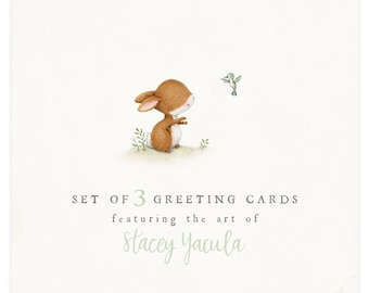 """set - greeting cards -  birthday - christmas - thank you - friends - baby - love - """"SET of 3 Greeting Cards"""""""
