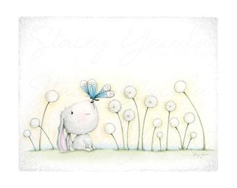 "Bunny Wall Art •  Bunny Illustration • Bunny Kids Print • ""FINDING YOU!"""
