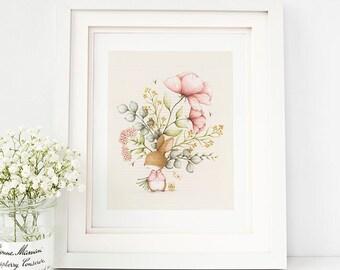 Animal Nursery Art Print, Animal Kids Room Art, Bunny Floral Nursery Art, Bunny Floral Kids Room Art- AP1917