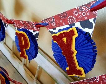Toy Story Jessie Party Banner - Western Birthday - Jessie - Cowgirl Birthday Banner- Happy Birthday Banner- Cowprint Birthday Banner