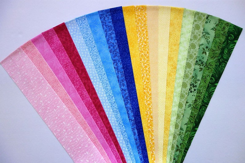 Fabric PBYG Cotton Jelly Roll Quilting Strip Pack Material Die Cut 20 Strips No Dups sku JR120-PBYGbd