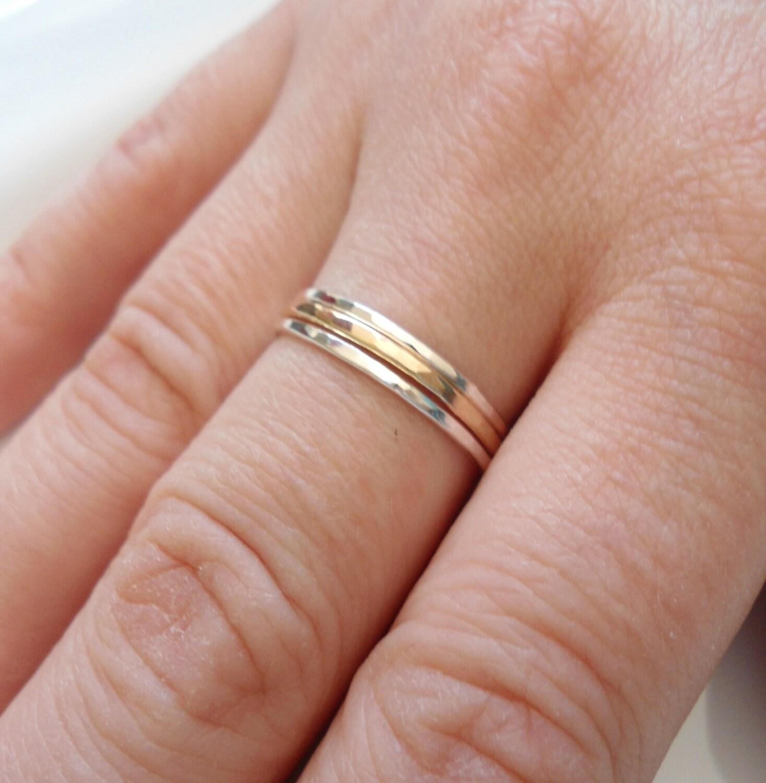 Skinny Stacking Rings Slim gold Ring 14K gold Ring Sterling | Etsy