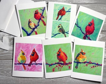 Cardinal Blank Note Cards Set Of 6, Cardinal Gift, Cardinal Stationery Set, Bird Notecards Blank With Envelopes, Red Cardinal Note Cards