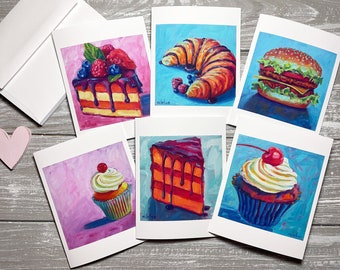 Food Blank Note Cards, Birthday Stationery Set, Foodie Note Cards Set Of 6, Cupcake Notecards Blank With Envelopes, Food Gift for Foodie